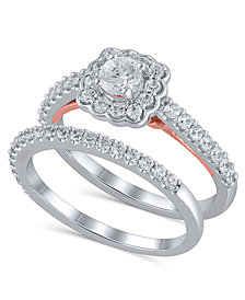 Certified Diamond (1 ct. t.w.) Bridal Set in 14K White and Rose Gold
