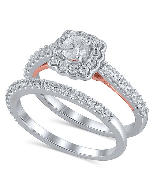 Macy's Certified Diamond (1 ct. t.w.) Bridal Set in 14K White and Rose Gold