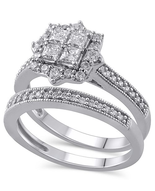 Macy's Certified Diamond (5/8 ct. t.w.) Bridal Set in 14K White Gold