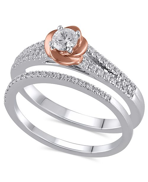 Macy's Certified Diamond (1/2 ct. t.w.) Bridal Set in 14K White and Rose Gold