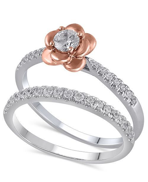 Macy's Certified Diamond (3/8 ct. t.w.) Bridal Set in 14K White and Rose Gold