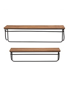 Farmhouse Metal and Wooden Wall Shelves, Set of 2