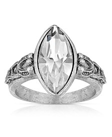 Pewter Diamond Shaped Crystal Ring