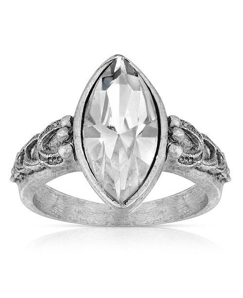 2028 Pewter Diamond Shaped Crystal Ring