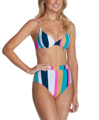 Juniors' Belle Mar Striped Underwire Bikini Top