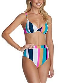 Juniors' Striped Bikini Top & High-Waist Bottoms