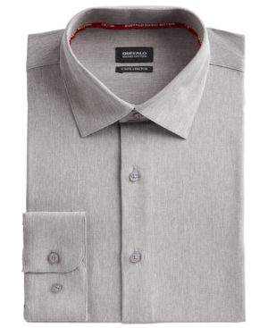 Men's Slim-Fit Performance Stretch Gray Solid Chambray Dress Shirt