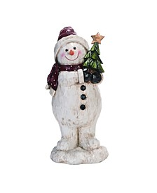 Resin White Christmas Look Snowman Figurine