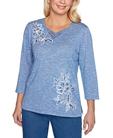 Pearls of Wisdom Placed Embroidery Top