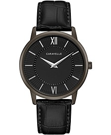 Men's Black Leather Strap Watch 39mm