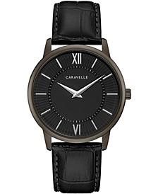 Men's Black Leather Strap Watch 39mm