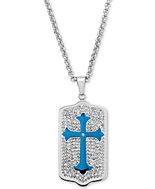 "Men's Crystal and Blue Enamel Dog Tag 24"" Pendant Necklace in Stainless Steel"
