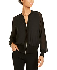 Mesh-Sleeve Zippered Jacket