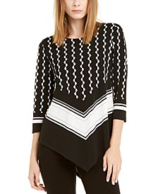 Petite Printed Colorblocked Pointed-Hem Top, Created For Macy's