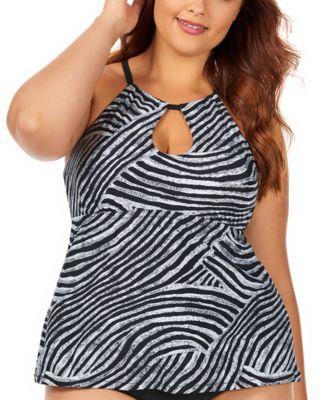 Trendy Plus Size Juniors' Mombasa Printed Rosalie Underwire High Neck Underwire Tankini Top