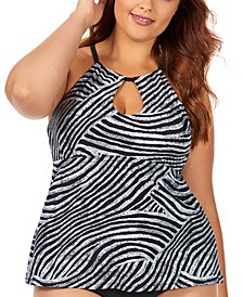 Trendy Plus Size Juniors' Mombasa Printed Rosalie Underwire High Neck Underwire Tankini Top