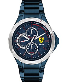 Men's Pista Blue PVD Stainless Steel Bracelet Watch 44mm