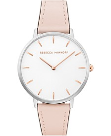 Women's Major Blush Leather Strap Watch 35mm