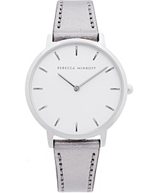 Women's Major Gray Metallic Leather Strap Watch 35mm
