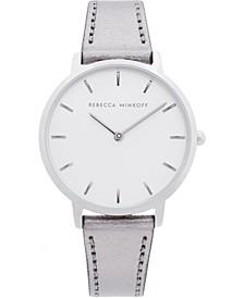 Women's Major Gray Metallic Leather Strap Watch 35mm