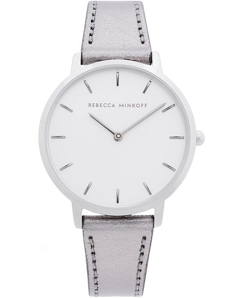 Rebecca Minkoff Women's Major Gray Metallic Leather Strap Watch 35mm