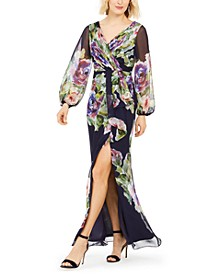 Floral-Printed Chiffon Gown