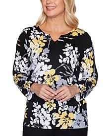 Petite Riverside Drive Floral-Print Sweater