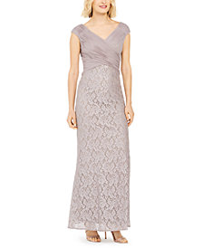 Jessica Howard Ruched Glitter & Lace Gown
