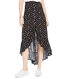 Juniors' High-Low Floral Print Midi Skirt