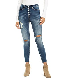 Exposed-Button High-Rise Destructed Skinny Jeans