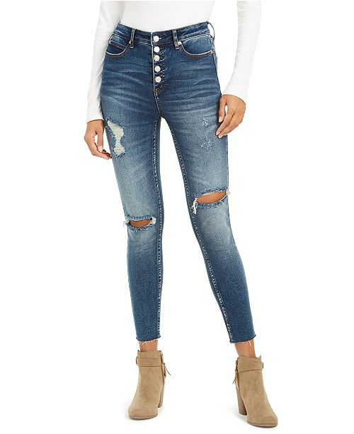OAT Exposed-Button High-Rise Destructed Skinny Jeans