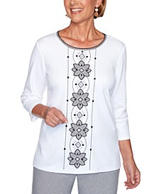 Riverside Drive Embroidered Medallion Rhinestone Top