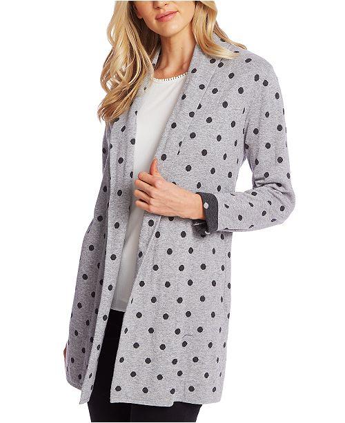 CeCe Cotton Dot-Print Open-Front Cardigan Sweater