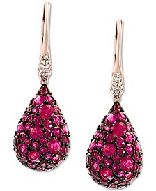 EFFY® Certified Ruby (4 ct. t.w.) & Diamond (1/10 ct.t.w.) Drop Earrings in 14k Rose Gold