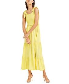 INC Smocked-Bodice Peplum Midi Dress, Created for Macy's