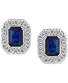 EFFY® Sapphire (2-1/10 ct. t.w.) & Diamond (1/5 ct. t.w.) Stud Earrings in 14k White Gold