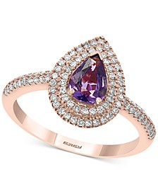 EFFY® Purple Sapphire (7/8 ct. t.w.) Diamond (3/8 ct. t.w.) Ring in 14k Rose Gold