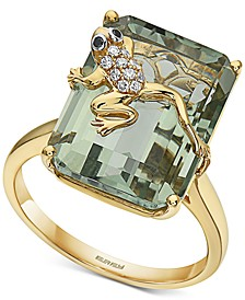 EFFY® Green Amethyst (14-7/8 ct. t.w.) & Diamond (1/20 ct. t.w.) Frog Statement Ring in 14k Gold
