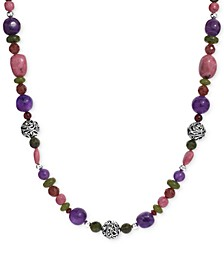 "Multi-Gemstone Beaded Statement Necklace in Sterling Silver, 32"" + 2"" extender"