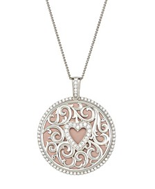 """Magnifying Glass & Mirror Pendant with Heart Necklace, 38"""""""
