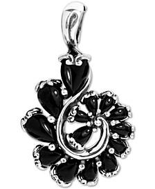 Black Agate Swirl Pendant in Sterling Silver
