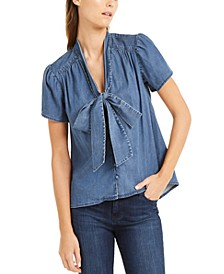 INC Tie-Neck Denim Top, Created for Macy's
