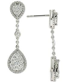 Diamond Cluster Teardrop Chain Drop Earrings (1 ct. t.w.) in 14k White Gold