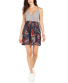 Juniors' Floral Offering Floral-Print Surplice Dress