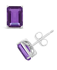 Amethyst (3-1/5 ct. t.w.) Stud Earrings in Sterling Silver. Also Available in Garnet (3-9/10 ct. t.w.) and Citrine (3-1/5 ct. t.w.)
