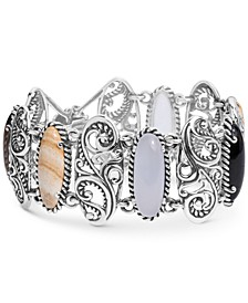 Multi-Stone Swirl Bangle Bracelet in Sterling Silver