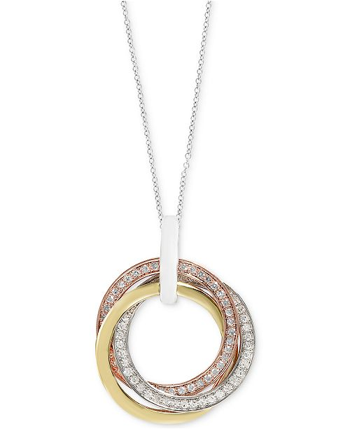 """EFFY Collection EFFY® Diamond Tri-Color Circular 18"""" Pendant Necklace (1/4 ct. t.w.) in 14k Rose Gold, 14k White Gold and 14k Gold"""