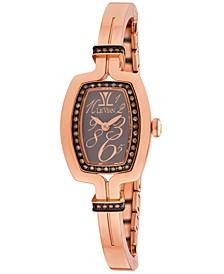 Women's Swiss Diamond (1/3 ct. t.w.) Rose Gold-Tone Stainless Steel Semi-Bangle Bracelet Watch 25.7x20.4mm