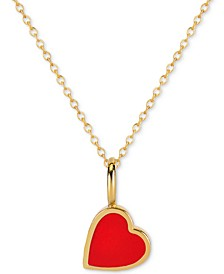 "Love Count™ Enamel Heart 16""-18"" Pendant Necklace in 14k Gold Over Sterling Silver"