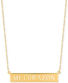 Mi Corazon Adjustable Engraved Bar Pendant Necklace in 14k Gold-Plated Sterling Silver